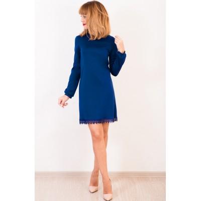 00406 Платье из трикотажа Лакоста синее  с кружевом