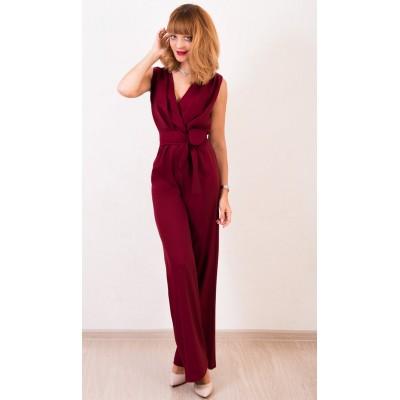 00418 Комбинезон из костюмной ткани бордовый