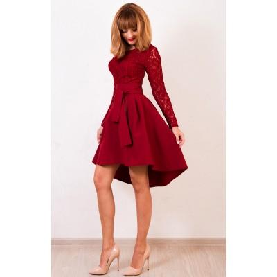 00412 Платье каскад бордовое с кружевом