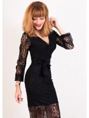00422 Платье из эластичного гипюра черное