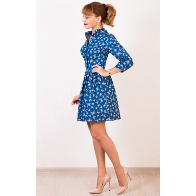 00410 Платье-рубашка джинс с бабочками