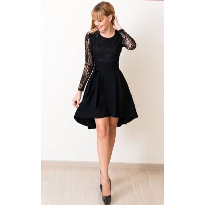 00559 Платье каскад черное с кружевом