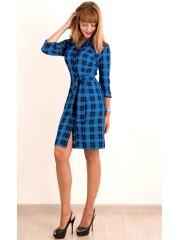 00401 Платье-рубашка синее в клетку