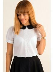 00389 Блуза с черным воротом и французским кружевом