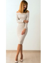 00400 Платье с открытыми плечами бежевое