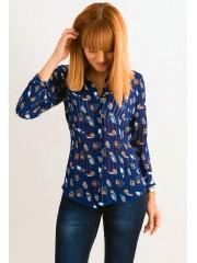 00394 Блуза из шифона синяя  с совами