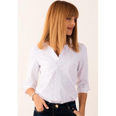 00398 Рубашка белая из хлопка с якорями