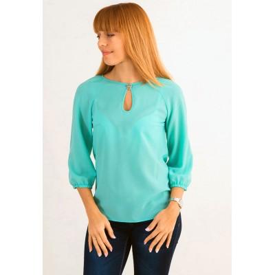 00396 Блуза из крепа бирюзовая