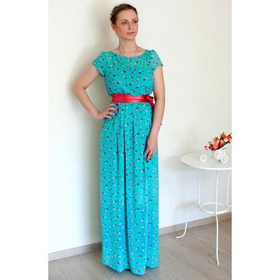 00153 Платье из французского шифона с ананасами