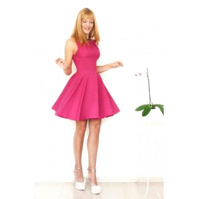 00128 Платье  малиновый меланж с юбкой-солнце