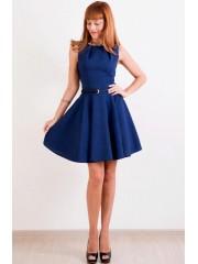 00311 Платье темно-синее с юбочкой-солнце