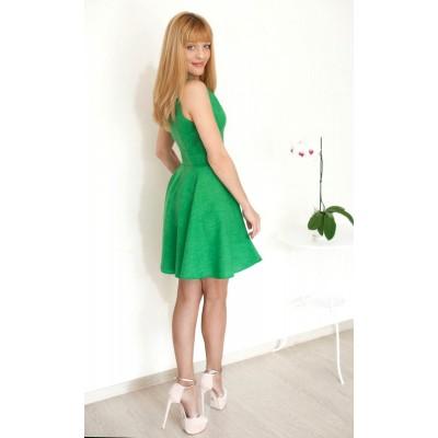 00129 Платье зеленый меланж с юбкой-солнце