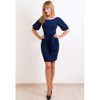 00238 Платье темно-синее с белым кружевом