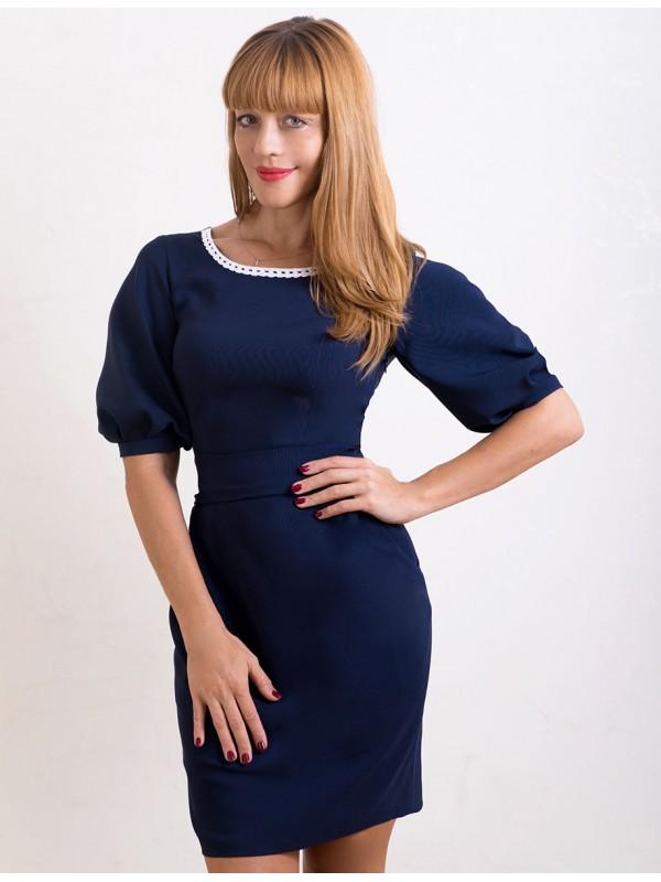 Темно синее платье с белым кружевом