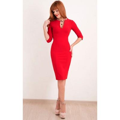 00293 Платье красное с вырезом