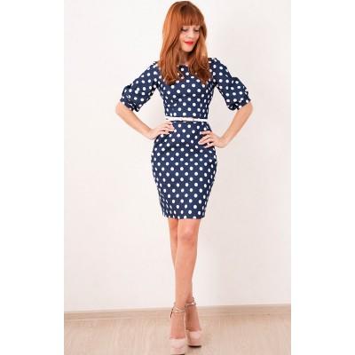 00292 Платье-футляр из синей джинсы в горох