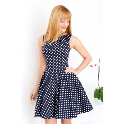 00127 Платье из плотного хлопка темно-синее в горох