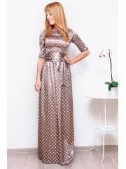00122 Платье атласное бежевое в горох