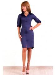 00196 Платье-рубашка баклажан