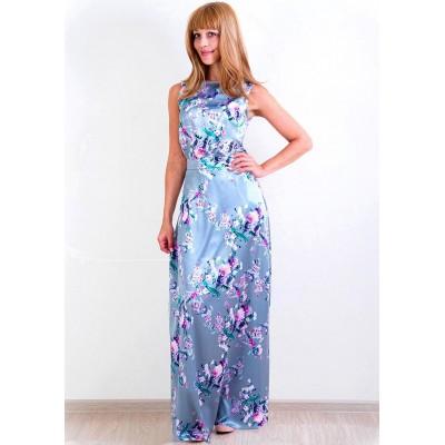00143 Платье из атласа серо-голубое с цветочным принтом