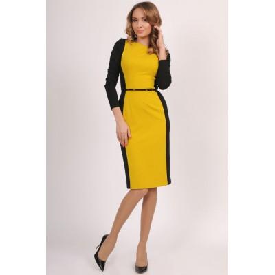 00215 Платье черное с горчицей