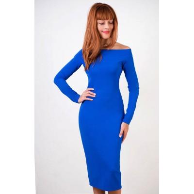 00315 Платье из трикотажа-жаккарда с открытыми плечами электирк