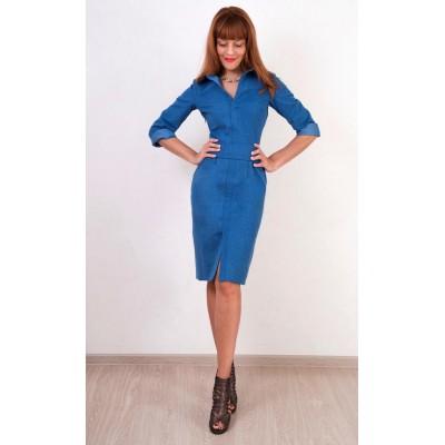 00322 Платье джинсовое прямое с поясом