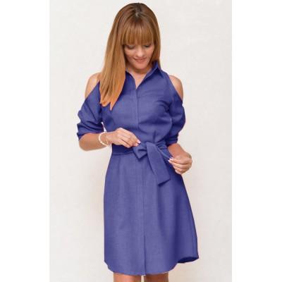 00528 Платье-рубашка  с открытыми плечами фиолетовое