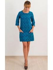 00516 Платье из жаккарда бирюзовое с карманами