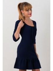 00524 Платье из фактурного трикотажа с воланом синее