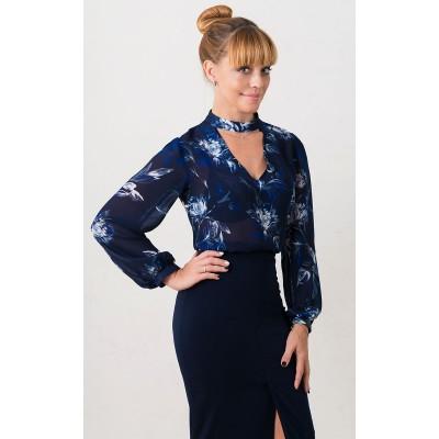 00513 Блуза из французского шифона синяя с белыми цветами