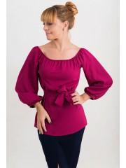 00508 Блуза из крепа с пышным рукавом марсала