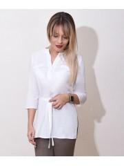00763 Блузка белая из хлопка с поясом