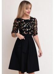 00773 Платье черное с гипюром