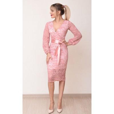 00774 Платье из гипюра и трикотажа розовое