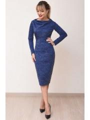 00768 Платье из трикотажа меланж синее
