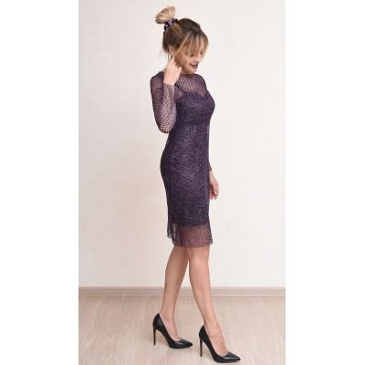 00776 Платье из стрейч-атласа и декоративной сетки
