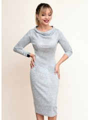00769 Платье из трикотажа меланж серое