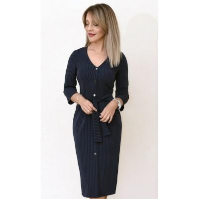 00733 Платье из костюмной ткани темно-синее в полоску