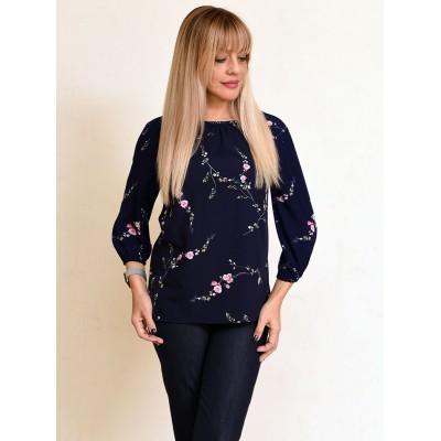 00752 Блузка из вискозы темно-синяя в цветок